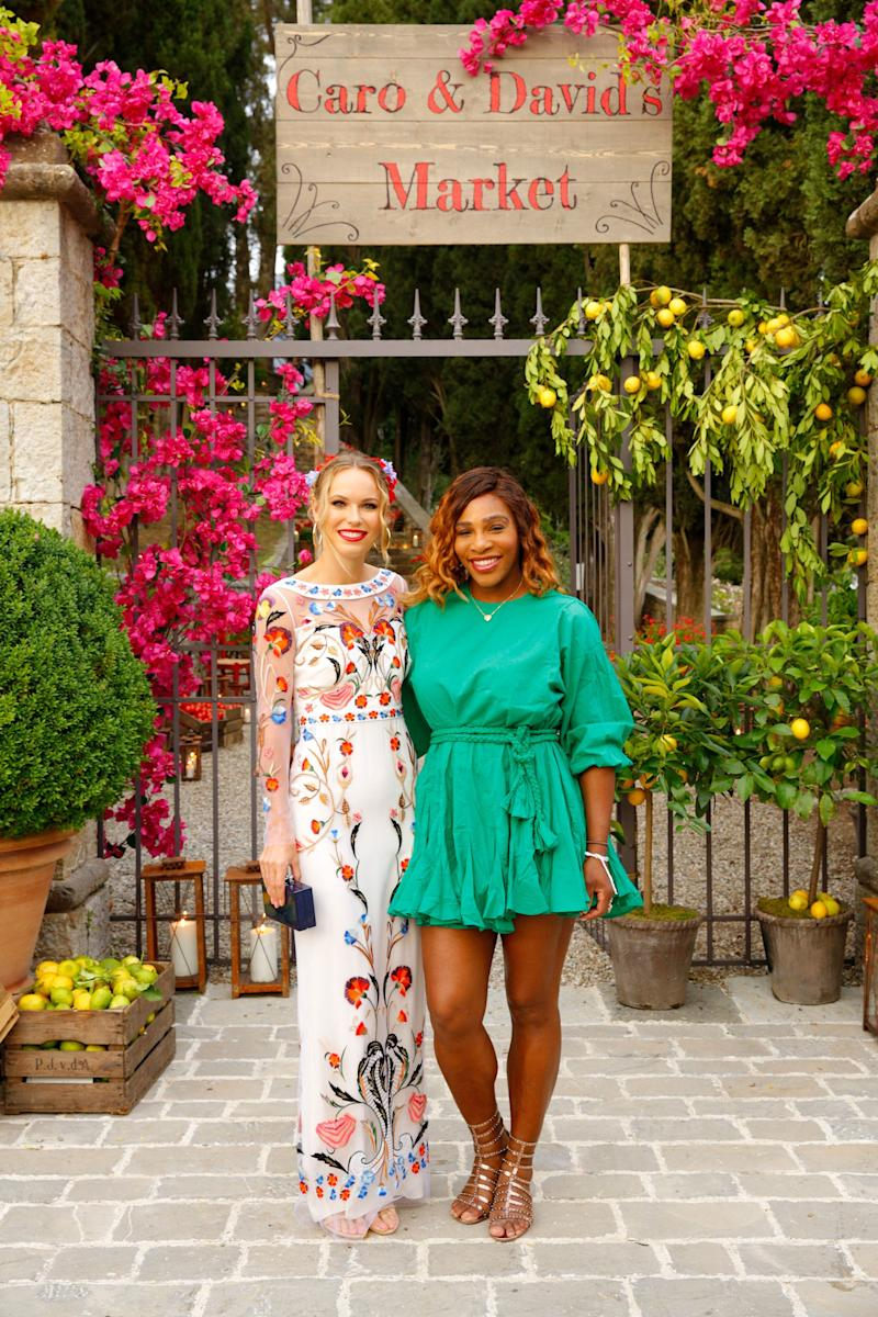 Caroline poses with close friend Serena Williams before heading into the party.