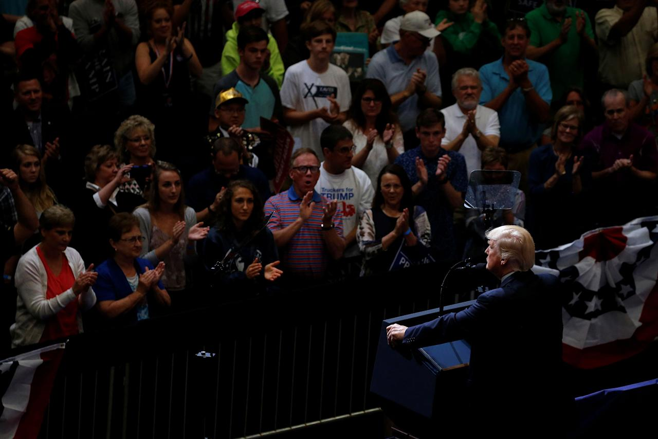 <p>President Donald Trump holds a rally with supporters at an arena in Cedar Rapids, Iowa, June 21, 2017. (Photo: Jonathan Ernst/Reuters) </p>