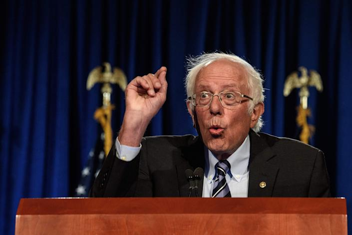 """US Senator Bernie Sanders, Independent of Vermont, speaks at George Washington University in Washington, DC, on September 24, 2020. - Sanders warned that the US faces an """"unprecedented and dangerous moment,"""" as US President Donald Trump questions the legitimacy of mail-in ballots and suggests he might not accepts the election results."""