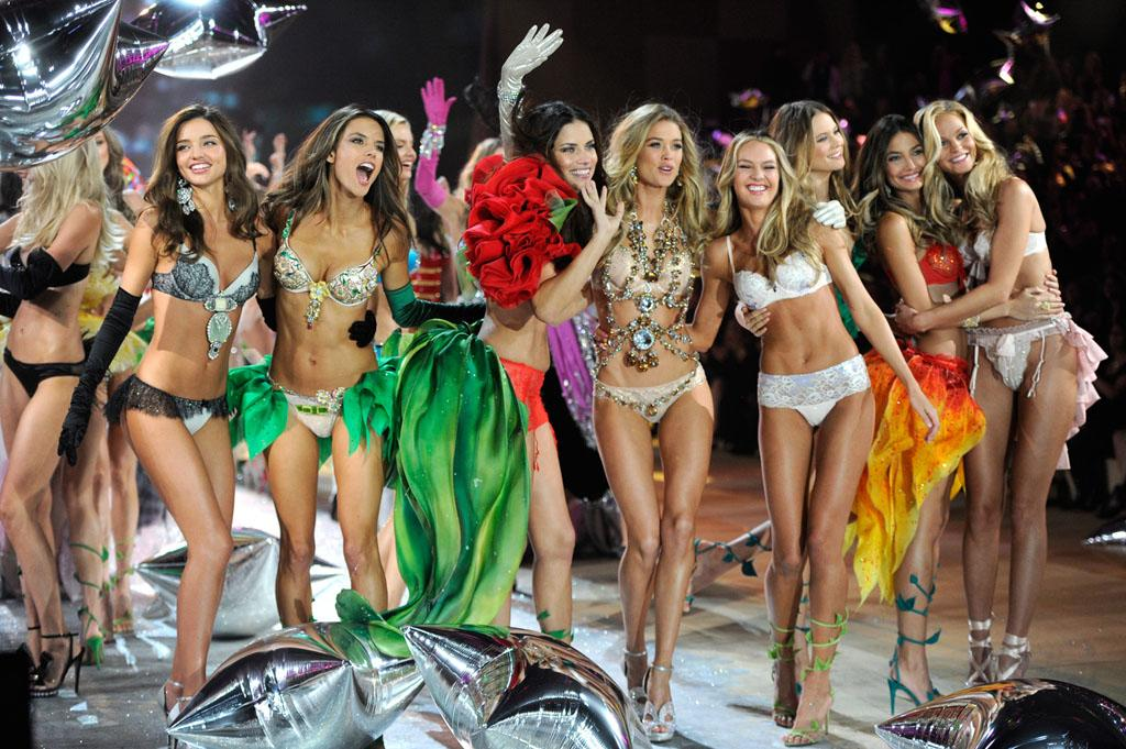 Models on the runway during the 2012 Victoria's Secret Fashion Show at the Lexington Avenue Armory on November 7, 2012 in New York City.