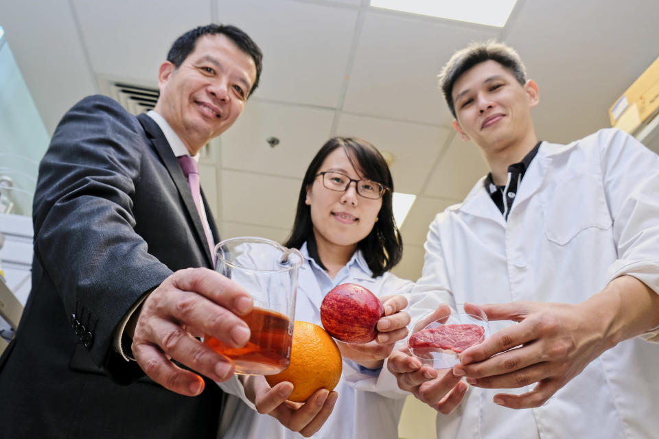 Professor William Chen (left), with team members Lyu Xiaomei and Ng Kuan Rei on 16 August, 2018. (PHOTO: NTU)