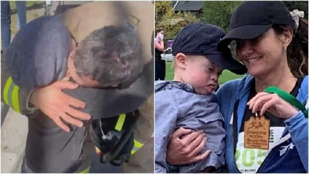 Calgary firefighter Devin Featherstone embraces his son, Kai, in a recent marathon, left, while Telara Renz celebrates her completion of a half marathon in Canmore, Alta., with her son Kolby. Both tell CBC News their reasons for participating are intensely personal. (Submitted by Devin Featherstone/Submitted by Telara Renz - image credit)