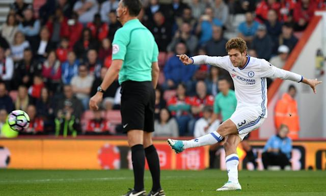 "<span class=""element-image__caption"">Marcos Alonso is a study in concentration as he fires home a free-kick for Chelsea's third goal in the Premier League win at Bournemouth. </span> <span class=""element-image__credit"">Photograph: Darren Walsh/Chelsea FC via Getty Images</span>"
