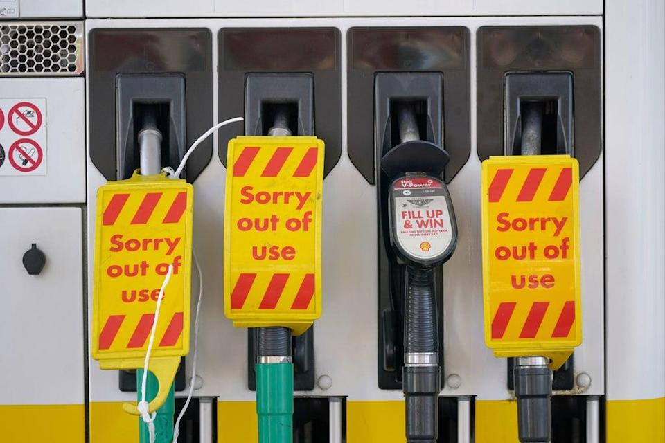 Closed pumps at a Shell garage in Clapham, London as drivers ignore pleas not to panic buy (PA)