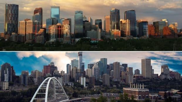 The Edmonton and Calgary chambers of commerce worked together to lay out the policy positions they want the next federal government to pursue after the Sept. 20 election. (Leslie Kramer/CBC, Manpreet Kooner - image credit)
