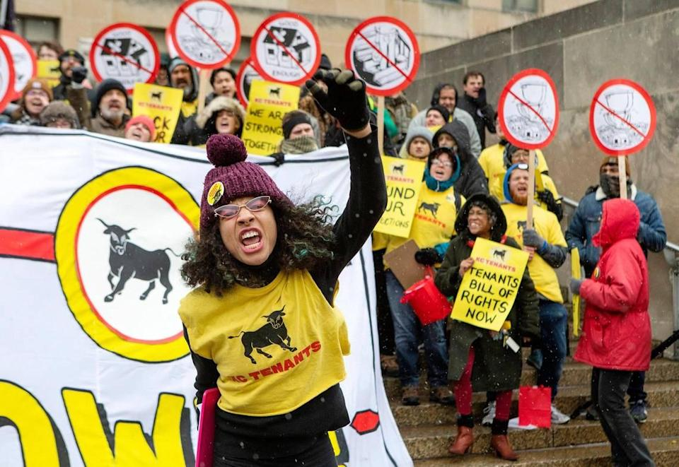 Maya Neal of KC Tenants rallied for the Tenants Bill of Rights outside City Hall in October.