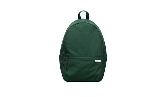 "<p>The Street nylon zip backpack, $48, <a href=""https://www.everlane.com/products/mens-street-nylon-zip-backpack-large-emerald?collection=mens-backpacks-bags"" rel=""nofollow noopener"" target=""_blank"" data-ylk=""slk:everlane.com"" class=""link rapid-noclick-resp"">everlane.com</a> </p>"