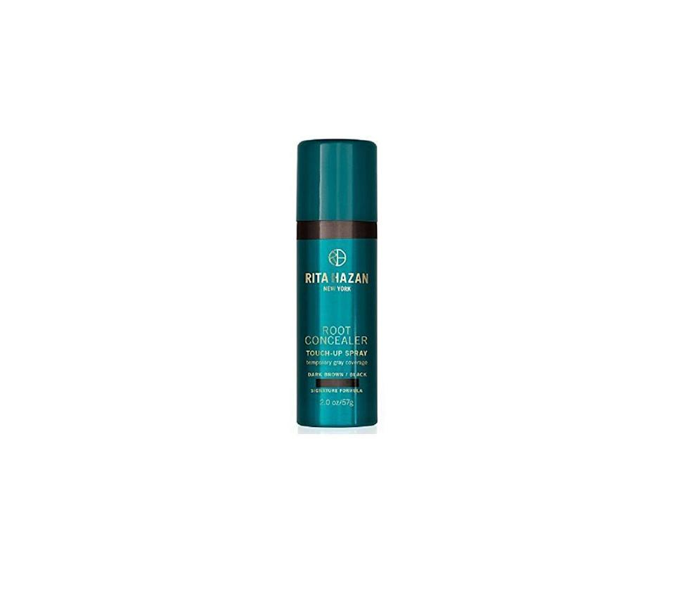 """<p><strong>Rita Hazan </strong></p><p>dermstore.com</p><p><strong>$25.00</strong></p><p><a href=""""https://go.redirectingat.com?id=74968X1596630&url=https%3A%2F%2Fwww.dermstore.com%2Fproduct_Root%2BConcealer%2BTouch%2BUp%2BSpray%2B%2BDark%2BBrownBlack_59001.htm&sref=https%3A%2F%2Fwww.goodhousekeeping.com%2Fbeauty-products%2Fhair-dye-reviews%2Fg792%2Fbest-home-hair-color%2F"""" rel=""""nofollow noopener"""" target=""""_blank"""" data-ylk=""""slk:Shop Now"""" class=""""link rapid-noclick-resp"""">Shop Now</a></p><p>A cult favorite among beauty editors and created by iconic celebrity hair colorist Rita Hazan, <strong>this waterproof and transfer-proof spray</strong> <strong>is easy to apply</strong> right where you need it most, thanks to a super-focused nozzle. The tinted spray conceals gray roots, makes hair look fuller, and can extend the amount of time you can squeeze in between coloring your hair.</p>"""