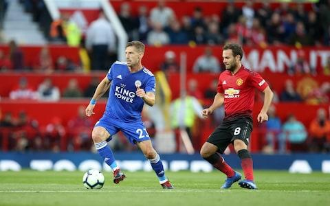 Adrien Silva of Leicester City in action with Juan Mata of Manchester United during the Premier League match between Manchester United and Leicester City at Old Trafford on August 10, 2018 in Manchester, United Kingdom - Credit: Getty Images