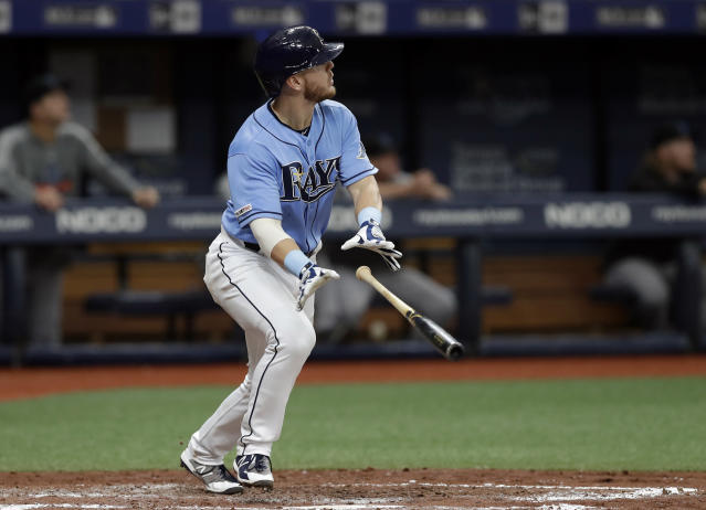 Tampa Bay Rays' Michael Brosseau drops his bat as he watches his solo home run off Miami Marlins starting pitcher Caleb Smith during the third inning of a baseball game Sunday, Aug. 4, 2019, in St. Petersburg, Fla. (AP Photo/Chris O'Meara)
