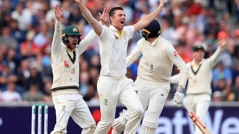 Josh Hazlewood, pictured here appealing for the wicket of Craig Overton.