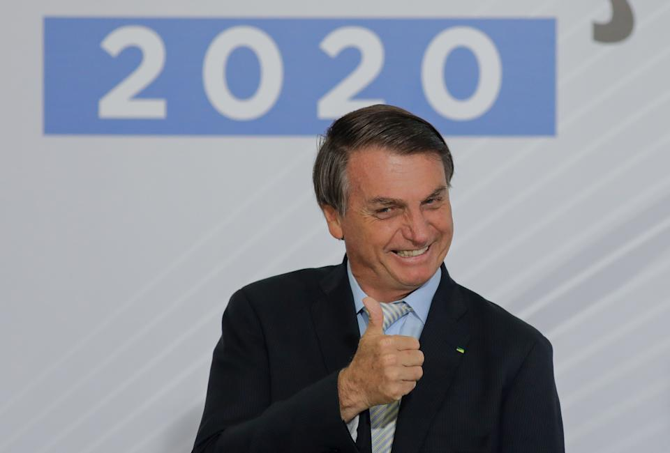 Brazilian President Jair Bolsonaro gives the thumbs up during the opening of the Forum 'Control in the Fight against Corruption 2020' at Planalto Palace in Brasilia, December 9, 2020. (Photo by Sergio Lima / AFP) (Photo by SERGIO LIMA/AFP via Getty Images)