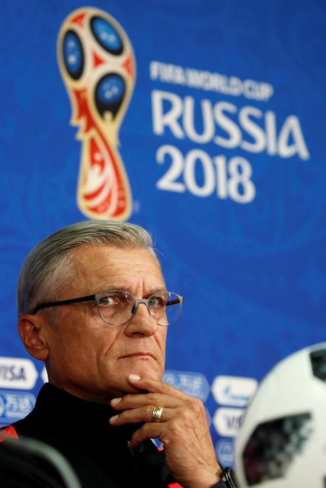 Soccer Football - World Cup - Poland Press Conference - Spartak Stadium, Moscow, Russia - June 18, 2018 Poland coach Adam Nawalka during the press conference REUTERS/Maxim Shemetov