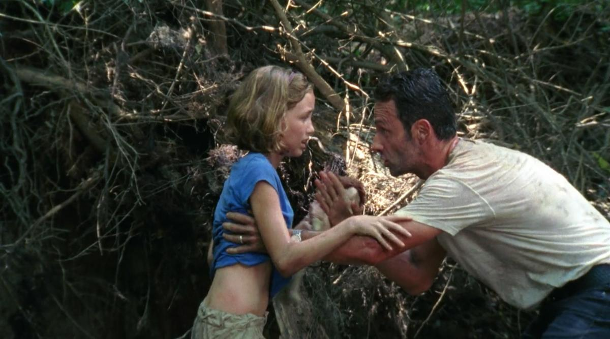 <p>When Sophia scooched into the woods to escape the highway walkers, Rick chased after her, then told her to hide and run back to the road if he didn't return when he went off to lure the walkers away. Nice move, leaving the terrified little girl alone instead of shepherding her back to her mom, dude. Flash-forward six episodes: Sophia was still MIA … until she emerged from Hershel's barn as a walker.<br /><br />(Photo: AMC) </p>