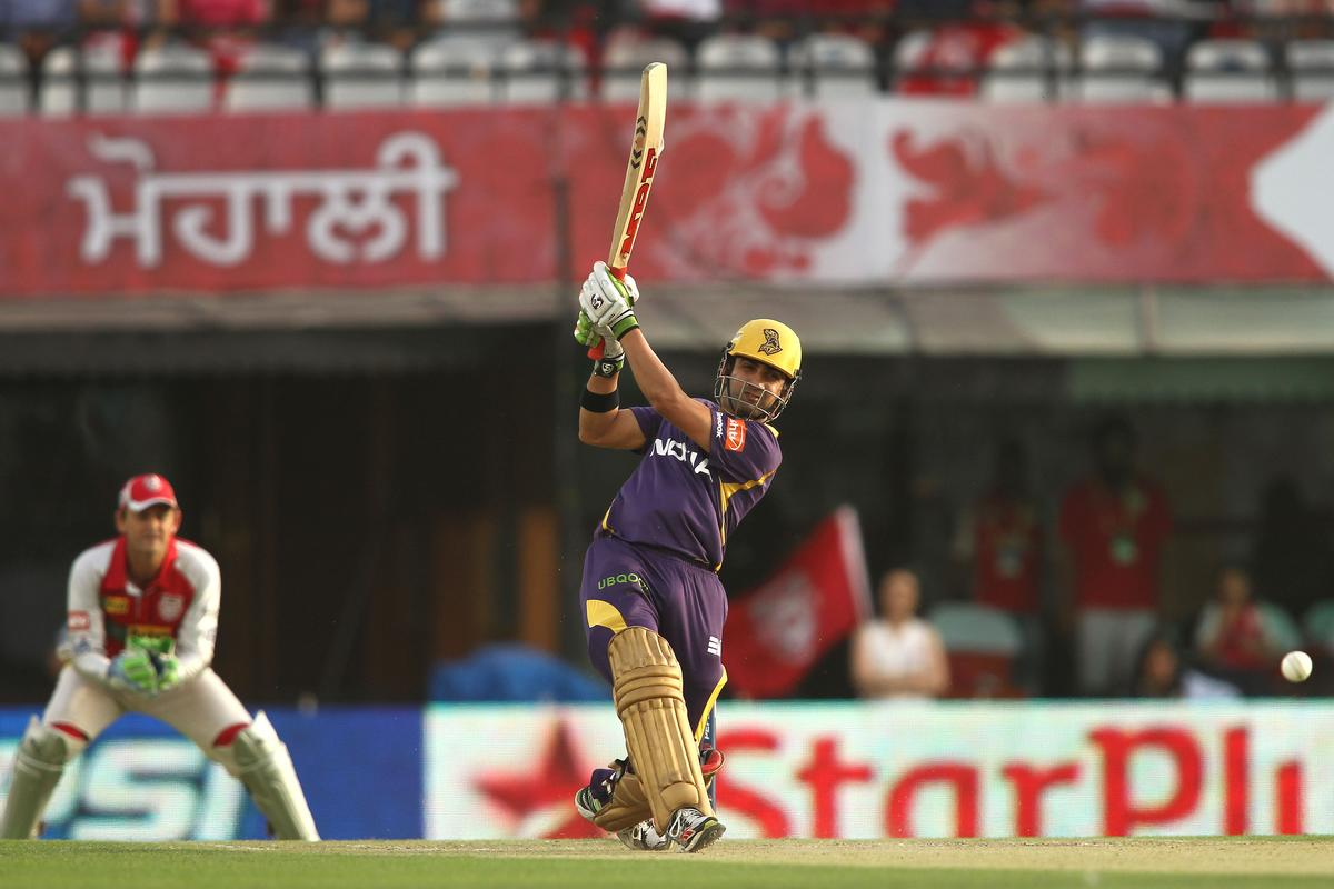 Kolkata Knight Riders captain Gautam Gambhir attacks a delivery during match 20 of the Pepsi Indian Premier League between The Kings XI Punjab and the Kolkata Knight Riders held at the PCA Stadium, Mohal, India  on the 16th April 2013..Photo by Shaun Roy-IPL-SPORTZPICS  ..Use of this image is subject to the terms and conditions as outlined by the BCCI. These terms can be found by following this link:..https://ec.yimg.com/ec?url=http%3a%2f%2fwww.sportzpics.co.za%2fimage%2fI0000SoRagM2cIEc&t=1503012825&sig=Z1sobIl1ECcxxyxlfNdKxQ--~D