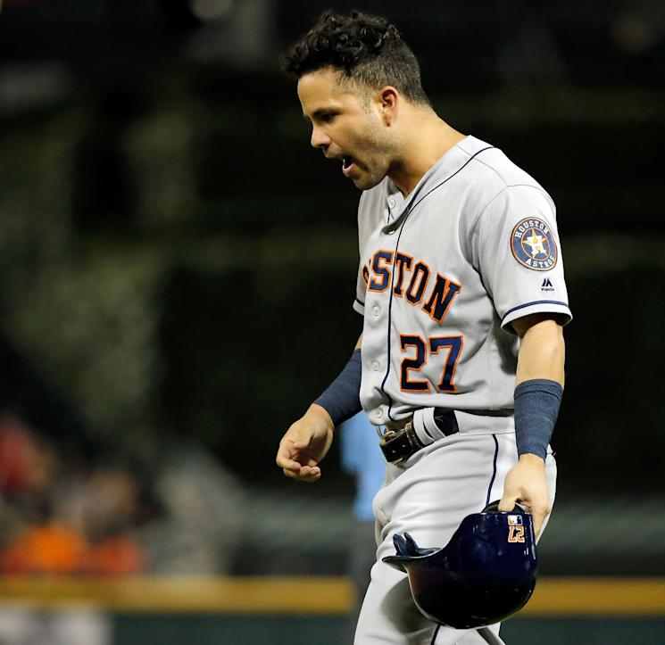 Astros All-Star Jose Altuve vents frustration after grounding into a double play in a loss to the Chicago White Sox on Thursday. (Getty Images)