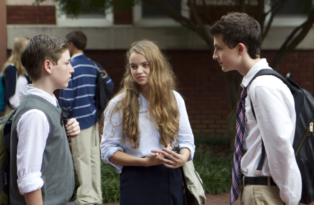 "Jackson Pace as Chris Brody, Morgan Saylor as Dana Brody and Timothee Chalamet as Finn Walden in the ""Homeland"" Season 2 episode, ""Q&A."""