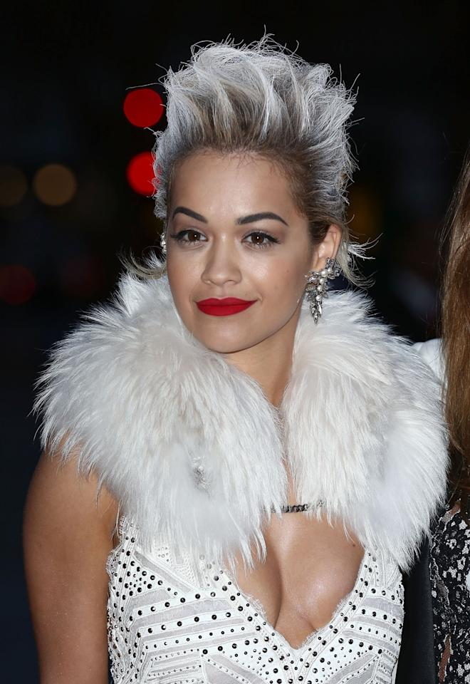 <p>Rita's spiky white-grey look hit headlines a couple of years ago. <i>[Photo: Getty]</i> </p>