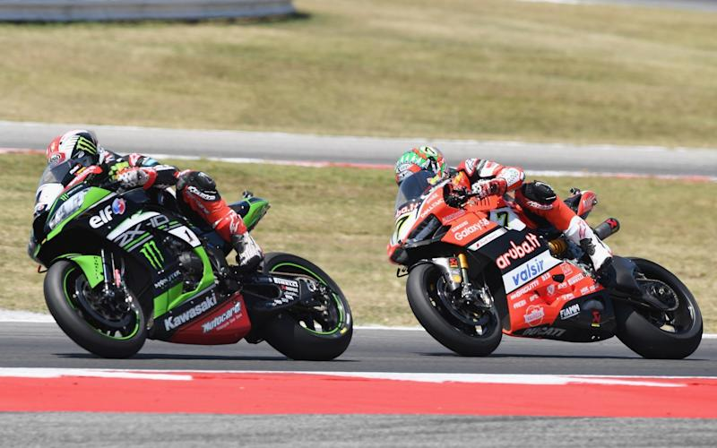 The 2017 champion Jonathan Rea leads Chaz Davies (Ducati), who can take the runner-up spot this weekend ahead of Rea's Kawasaki team-mate Tom Sykes. Whatever happens, the top three in the championship will all be British  - Getty Images Europe