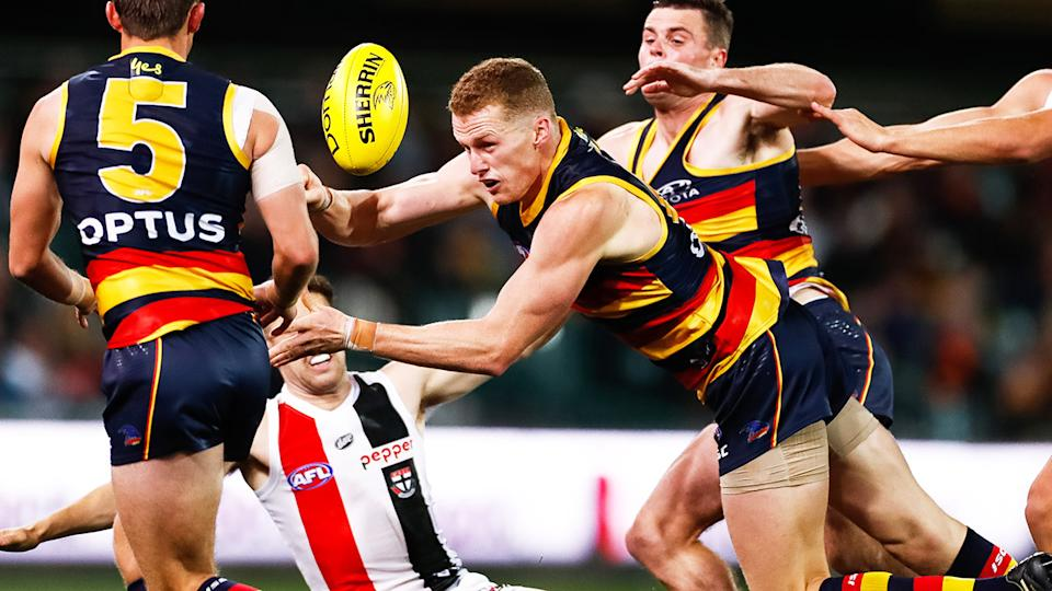 Reilly O'Brien, pictured here in action during Adelaide's clash with St Kilda.