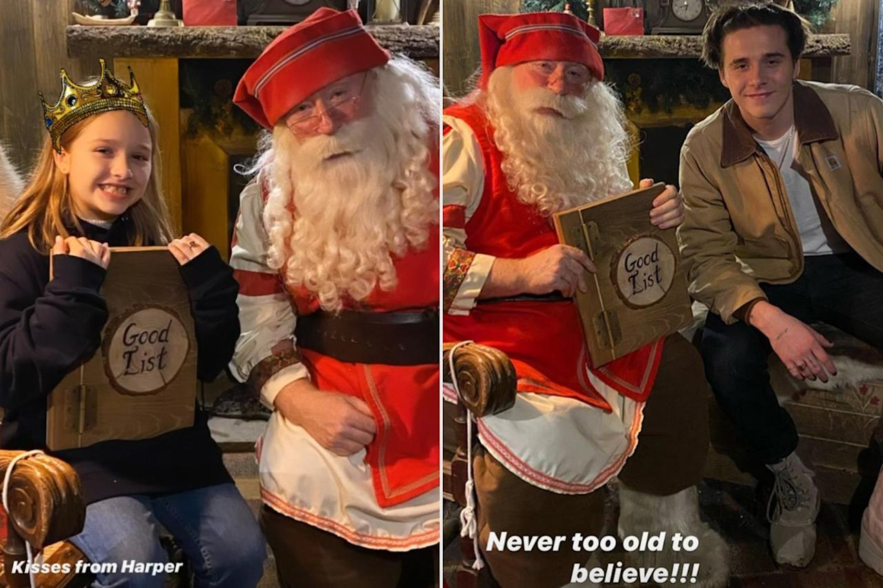 """Victoria and David Beckham's kids made the """"good"""" list, naturally. Daughter Harper, 8, and son Brooklyn, 20, posed with Santa a few days after <a href=""""https://people.com/parents/victoria-beckham-daughter-son-baptized-eva-longoria-marc-anthony-godparents/"""">Harper's baptism</a> on Dec. 21. """"Never too old to believe!!!"""" the mom-of-four wrote about her oldest son."""