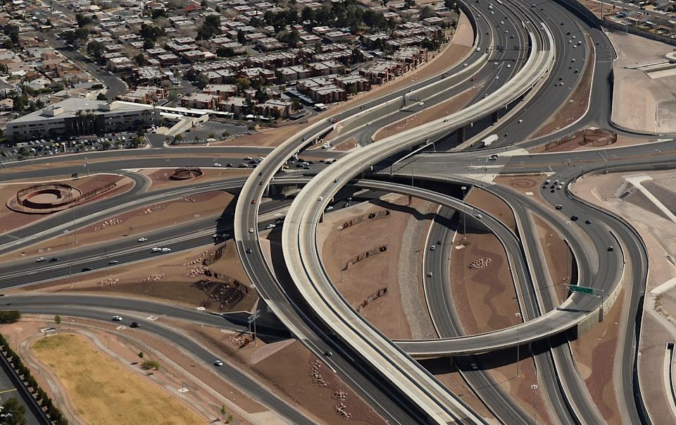 LAS VEGAS, NV - FEBRUARY 20:  The interchange at U.S. Route 95 and Rainbow Boulevard known as the Rainbow Curve is seen in an aerial view on February 20, 2014 in Las Vegas, Nevada.  (Photo by Ethan Miller/Getty Images)