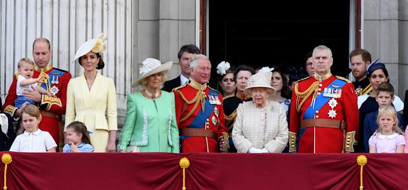 Prince William, Duke of Cambridge, Catherine, Duchess of Cambridge, Prince Louis of Cambridge, Prince George of Cambridge, Princess Charlotte of Cambridge, Camilla, Duchess of Cornwall, Prince Charles, Prince of Wales, Princess Anne, The Princess Royal, Queen Elizabeth ll, Prince Andrew, Duke of York, Prince Harry, Duke of Sussex and Meghan, Duchess of Sussex stand on the balcony of Buckingham Palace following Trooping the Colour on June 08, 2019 in London, England.