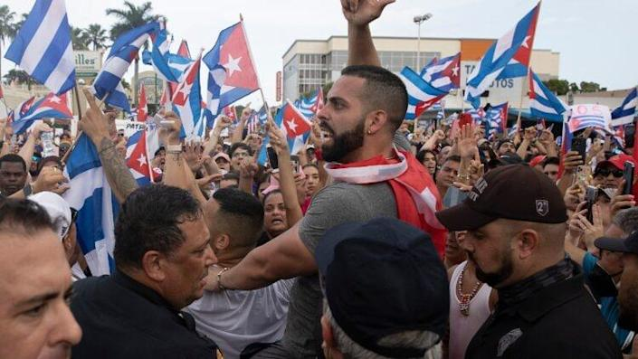 Miami Area Cubans Rally In Solidarity With Protesters In Cuba