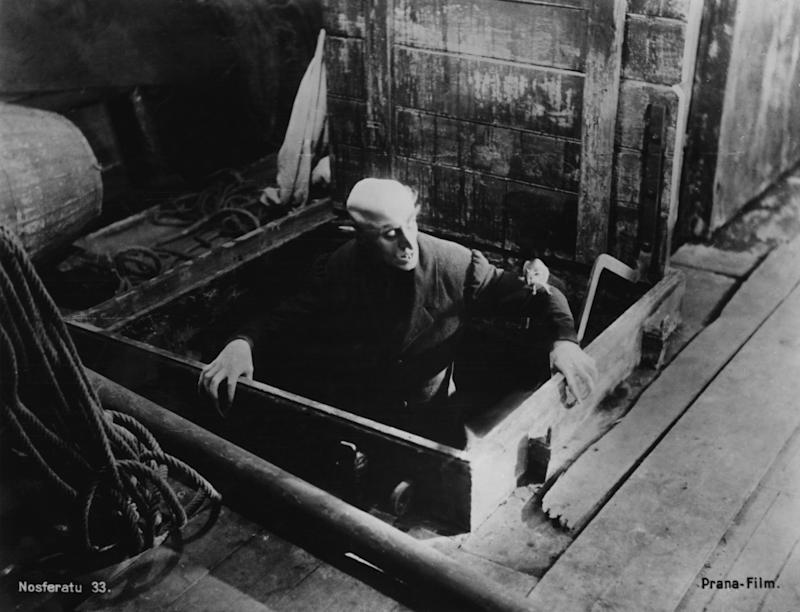 Max Schreck as the vampire Count Orlok, in a scene from F. W. Murnau's expressionist horror film, 'Nosferatu'. (Photo by Frederic Lewis/Hulton Archive/Getty Images)