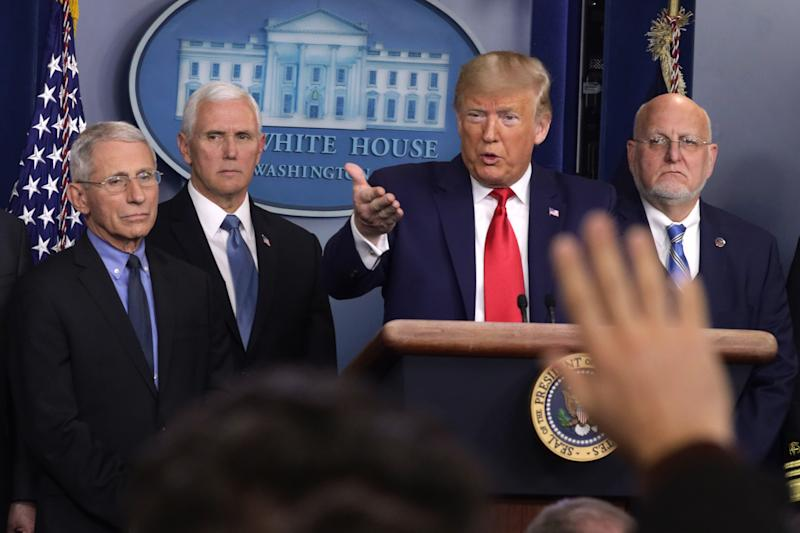 WASHINGTON, DC - FEBRUARY 29: U.S. President Donald Trump speaks as National Institute for Allergy and Infectious Diseases Director Anthony Fauci, Vice President Mike Pence, and Centers for Disease Control and Prevention Director Robert Redfield listen during a news conference at the James Brady Press Briefing Room at the White House February 29, 2020 in Washington, DC. Department of Health in Washington State has reported the first death in the U.S. related to the coronavirus. (Photo by Alex Wong/Getty Images)