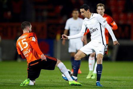 Football Soccer - FC Lorient v Paris St Germain - French Ligue 1 - Moustoir stadium, Lorient, France - 12/03/2017. Lorient's Mathieu Peybernes (L) in action with Paris St Germain's Angel Di Maria. REUTERS/Stephane Mahe
