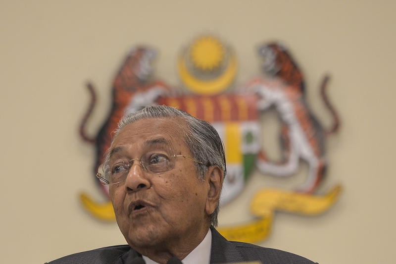 Tun Dr Mahathir Mohamad explained that while the BRI utilises more of land routes in and out of key economic areas such as Europe and the rest of Asia, he felt that maritime trade routes were just as pertinent. — Picture by Miera Zulyana