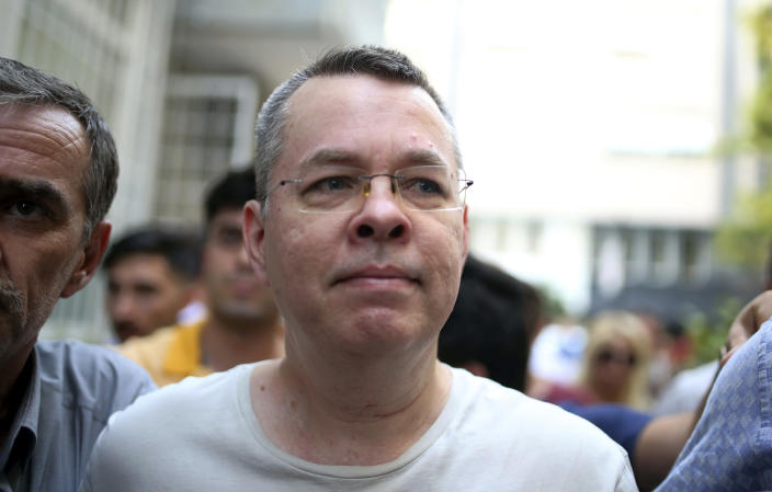 American pastor Andrew Brunson arrives at his house in Izmir, Turkey, in July where he was held under house arrest after his release from prison. (Photo: Emre Tazegul/AP)