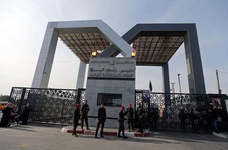 The gate of Rafah border crossing is seen after it was opened under control of the Western-backed Palestinian Authority for the first time since 2007, in Rafah