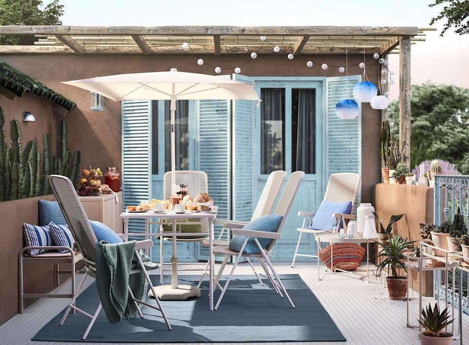 """<p>Create the ideal zone for entertaining and relaxing with space-saving furniture, benches, footstools and tables in a range of stylish hues. </p><p>'Extend your chill out zone out in the open and enjoy the fresh air with small and simple updates to your outdoor area,' says Rosheen Forbes, Commercial Activity & Events Leader at <a href=""""https://go.redirectingat.com?id=127X1599956&url=https%3A%2F%2Fwww.ikea.com%2Fgb%2Fen%2F&sref=https%3A%2F%2Fwww.housebeautiful.com%2Fuk%2Flifestyle%2Fshopping%2Fg35209867%2Fikea-spring-summer-transitions-collection%2F"""" rel=""""nofollow noopener"""" target=""""_blank"""" data-ylk=""""slk:IKEA UK"""" class=""""link rapid-noclick-resp"""">IKEA UK</a> and Ireland. </p><p>Not sure what to get your hands on? Rosheen says the perfect chair for 'delightful lounging and relaxation' is IKEA's ÄPPLARÖ reclining chair. </p>"""