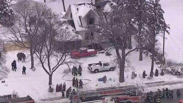 PHOTO: A 25-year-old mother and her four young daughters have been killed after a house fire ravaged their family home at approximately 10:30 a.m. in Des Plaines, Illinois, a suburb of Chicago, on Jan. 27, 2021. (WLS-TV)