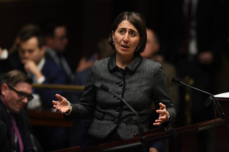 NSW Premier Gladys Berejiklian speaks during Question Time in Sydney, Tuesday, July 30, 2019. (AAP Image/Joel Carrett)