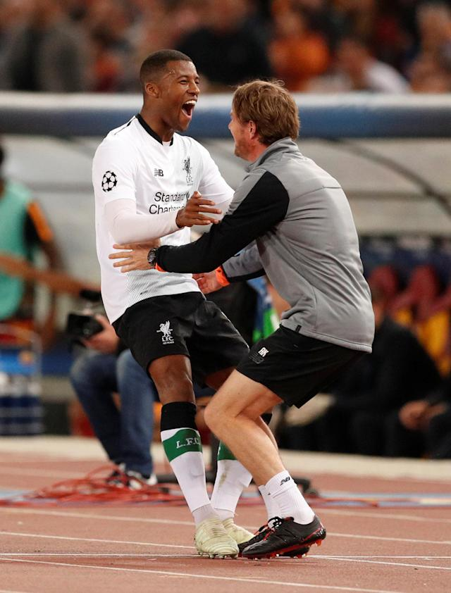 Soccer Football - Champions League Semi Final Second Leg - AS Roma v Liverpool - Stadio Olimpico, Rome, Italy - May 2, 2018 Liverpool's Georginio Wijnaldum celebrates with head of fitness and conditioning Andreas Kornmayer after he scores their second goal Action Images via Reuters/John Sibley