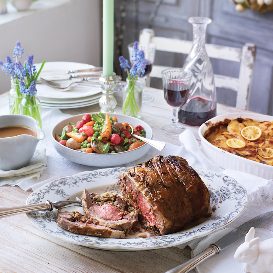 """<p>This roast lamb recipe is quicker to cook and easy to carve.</p><p><strong>Recipe: <a href=""""https://www.goodhousekeeping.com/uk/easter/easter-recipes/a568040/quick-roast-lamb-recipe/"""" rel=""""nofollow noopener"""" target=""""_blank"""" data-ylk=""""slk:Rolled leg of lamb with anchovy, parsley and lemon"""" class=""""link rapid-noclick-resp"""">Rolled leg of lamb with anchovy, parsley and lemon</a></strong></p>"""