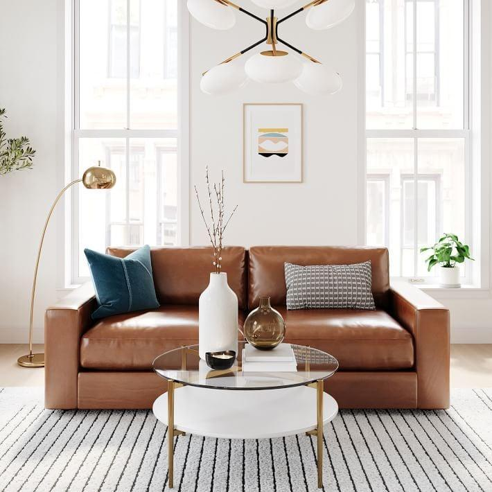 <p>You'll want to hang out on this elegant <span>West Elm Urban Leather Sofa</span> ($2,299 - $3,299).</p>