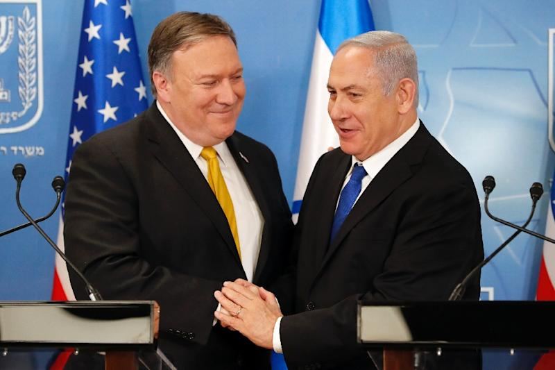 US Secretary of State Mike Pompeo is greeted by Israeli Prime Minister Benjamin Netanyahu at the Ministry of Defence in Tel Aviv