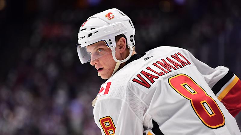 Flames defenceman Juuso Valimaki (8) will be sidelined indefinitely. (Ron Chenoy-USA TODAY Sports)