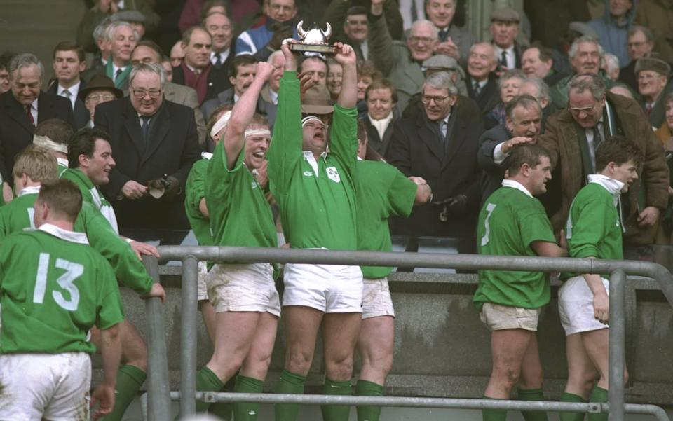 Ireland hold aloft the Millennium trophy after beating England in the Five Nations in 1994 - GETTY IMAGES