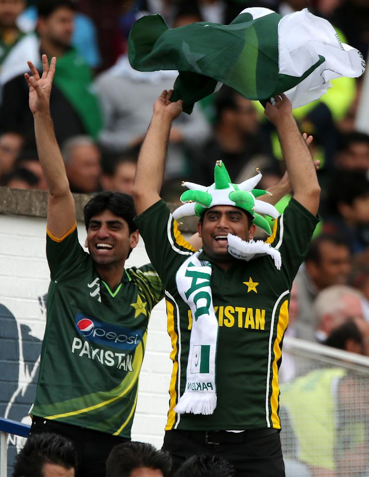 Pakistan fans watch game during the ICC Champions Trophy match at Edgbaston, Birmingham.