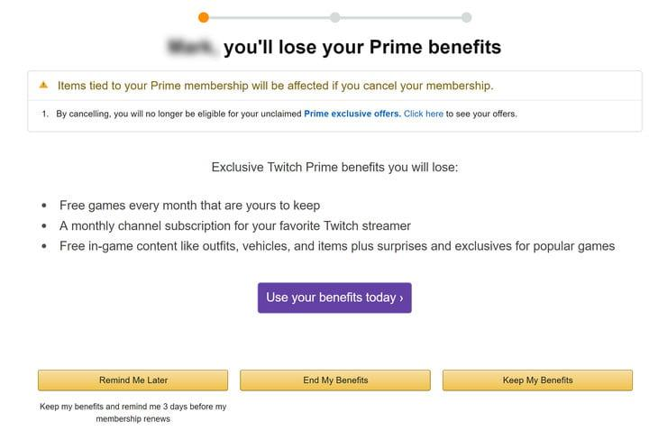 how to cancel amazon prime page