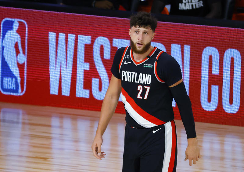 Jusuf Nurkic announced his grandmother's death in the hours leading up to Portland's play-in game win over Memphis. (Kevin C. Cox/Getty Images)