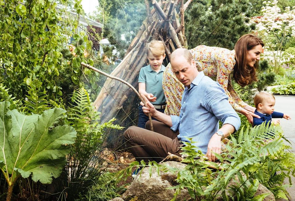 The Duchess of Cambridge in her RHS Chelsea Flower Show garden, with her children and William [Photo: PA/Matt Porteous]
