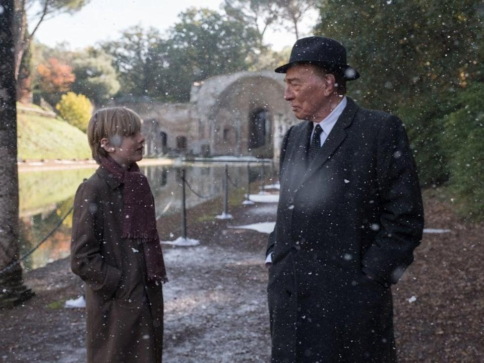 Christopher Plummer as J Paul Getty and Charlie Shotwell as Young John Paul Getty III in 'All the Money in the World' (Sony)