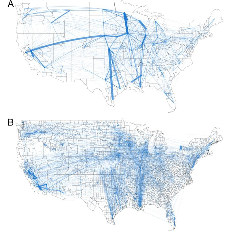 Maps of food flow networks within the United States. Maps depict total food flows (tons) for the (A) Freight Analysis Framework and (B) county scale. (Links are shown for all FAF data and for the largest 5% of county links.) | Courtesy of IOP Publishing Ltd