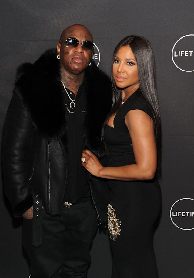 Birdman and Toni Braxton attend the premiere of her Lifetime movie <i>Faith Under Fire: The Antoinette Tuff Story</i> on Jan. 23. (Photo: Craig Barritt/Getty Images for Lifetime)